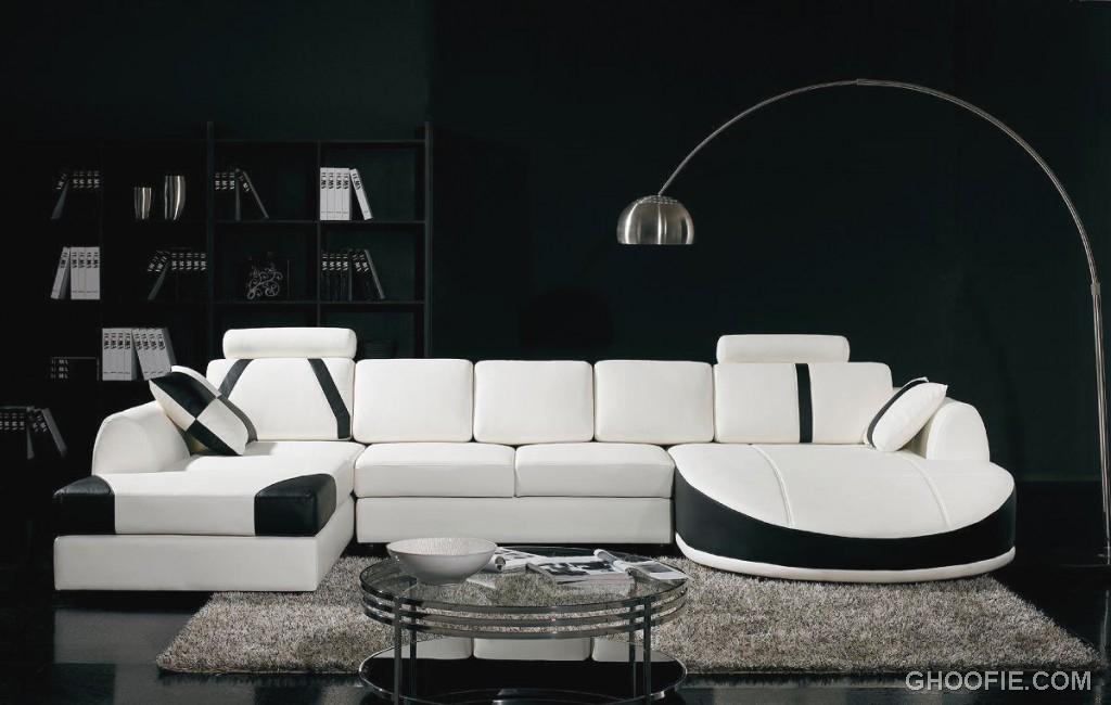 Awesome Black Living Room with White Sofa