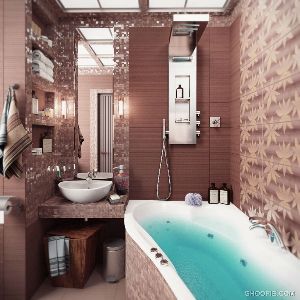 Awesome Brown Mosaic Bathroom Tile Ideas