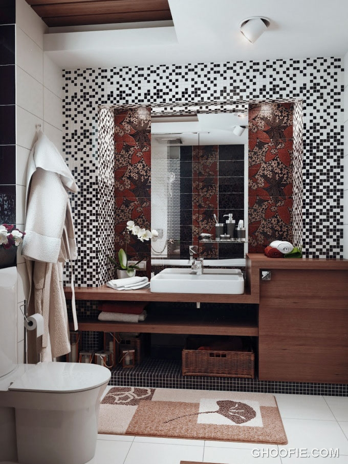 Black white brown bathroom design with tile wall decor for Brown bathroom designs