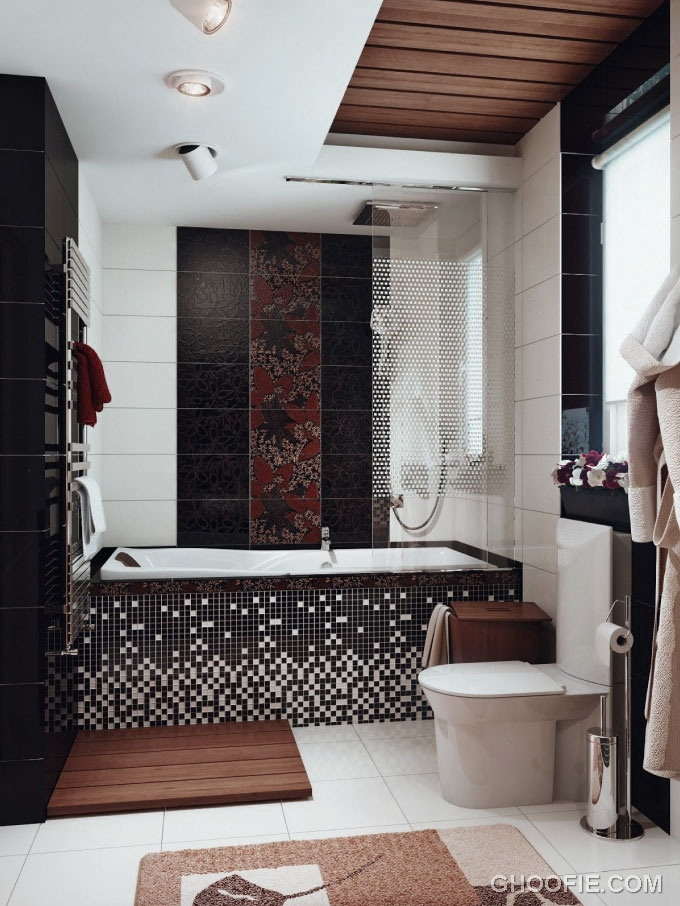 Black White Brown Bathroom with Ceramic Tile Decor