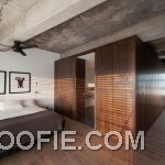 Charming Bedroom Loft Design with Concrete Ceiling