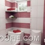 Contemporary Red White Stripe Bathroom Color