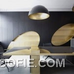 Gold Black Contrass Color Office Wood Furniture