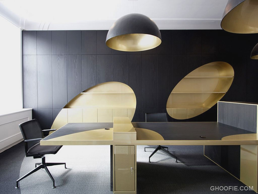 Gold Black Contrass Color Office Wood Furniture Interior