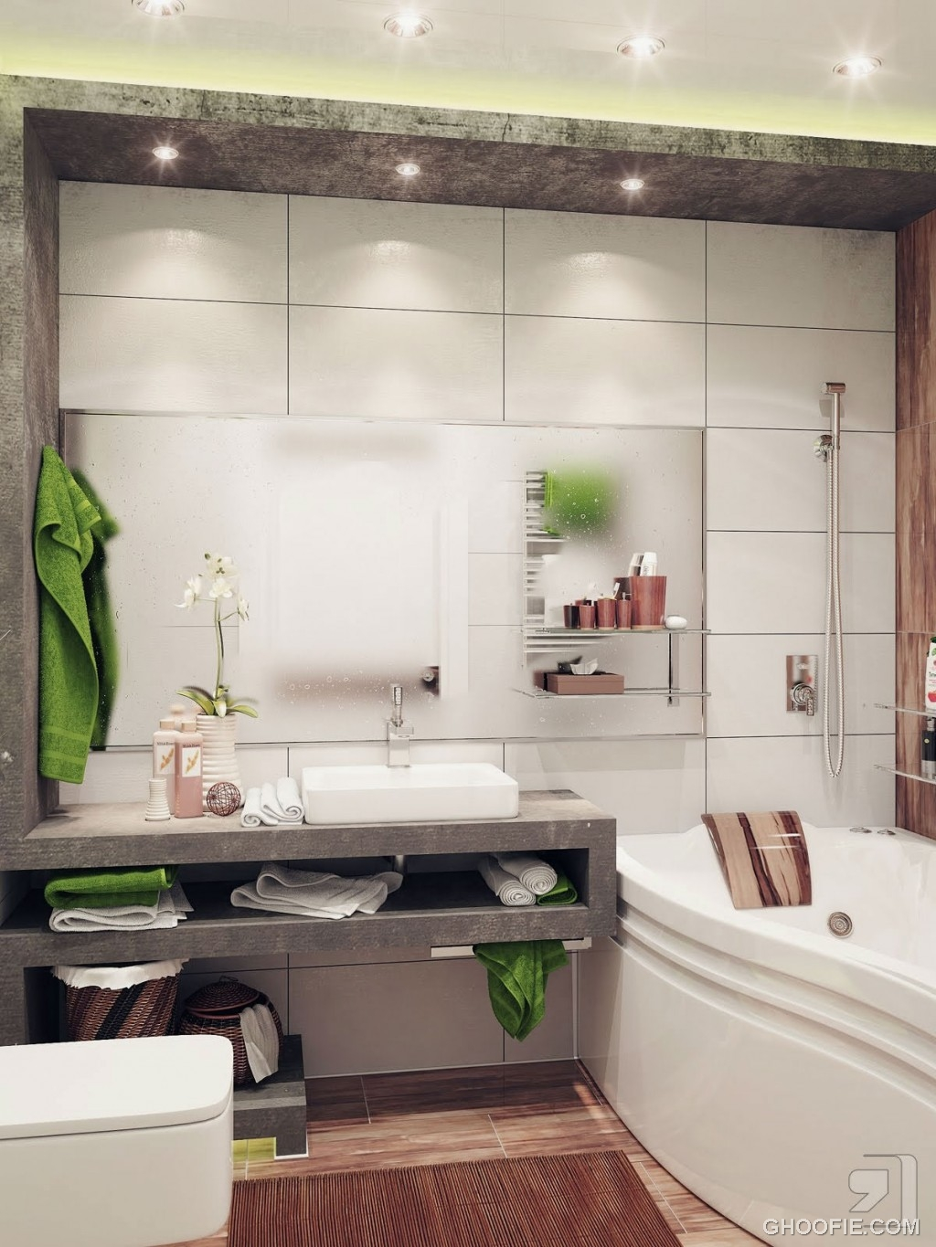 Green White Small Bathroom with Ceiling Light Ideas