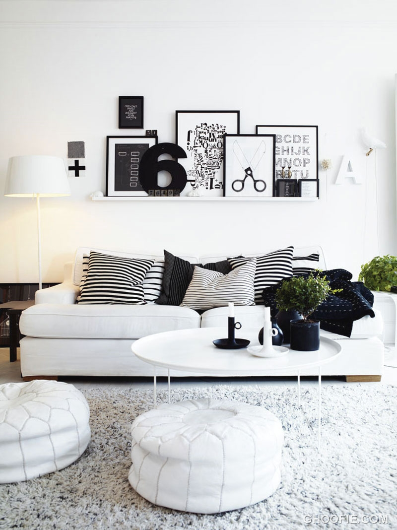 Marvelous Black White Living Room Interior Decorating
