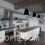 Modern Kitchen Loft Design with Unique Island and Concrete Ceiling