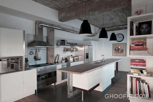 Modern Kitchen Loft Design With Unique Island And Concrete Ceiling Interior Design Ideas