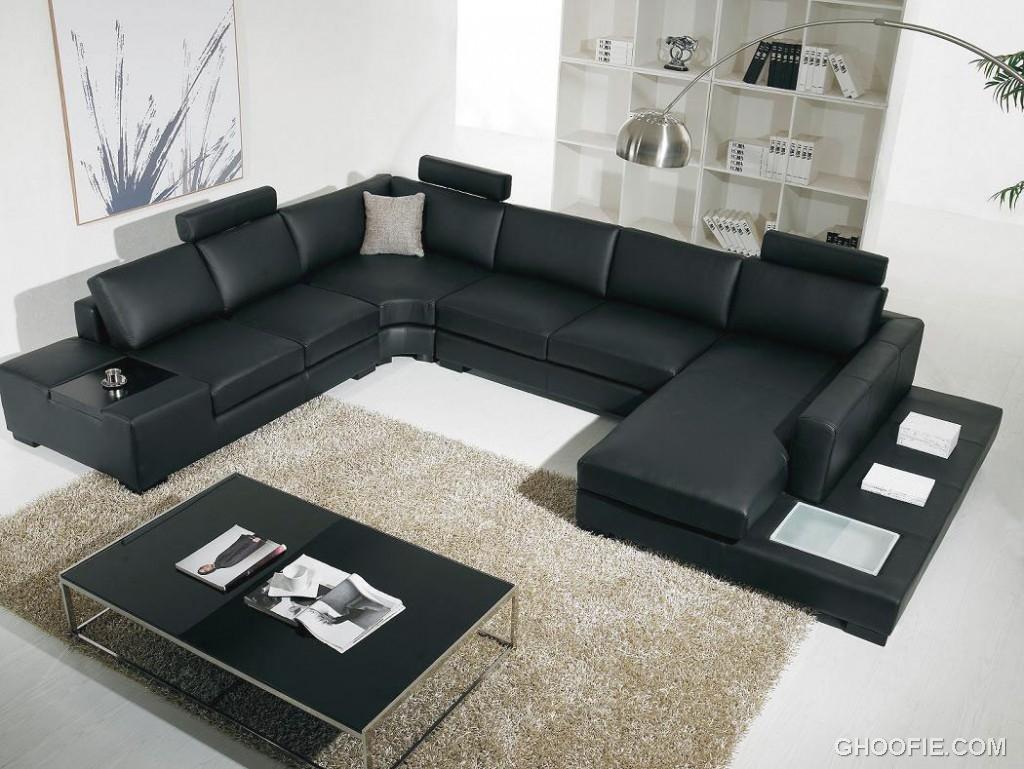 Modern Living Room with Black Comfortable Sofa