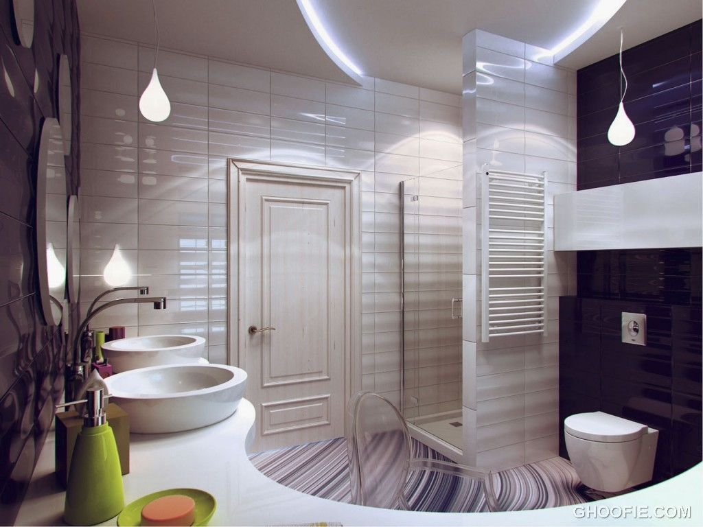 Modern purple white bathroom decor interior design ideas for Light purple bathroom accessories