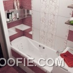 Modern Red White Floral Bathroom Tile Ideas