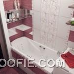 Modern Red White Floral Bathroom Tile Ideas