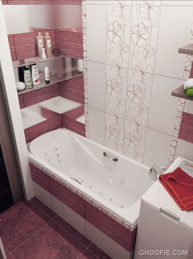Small bathroom design modern red white floral bathroom tile ideas