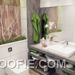 Small Green White Nature Small Bathroom Design