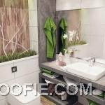 Small Green White Nature Small Bathroom Design