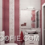 Small Minimalist Bathroom with Wall Striped Decor