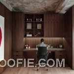 Wooden Home Office Design with Concrete Ceiling