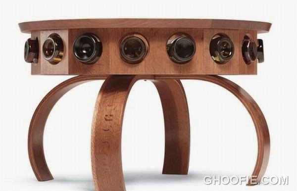 Wooden Table with Wine Display Design Ideas