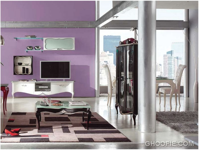 Fancy Purple Wall Living Room Interior Decor