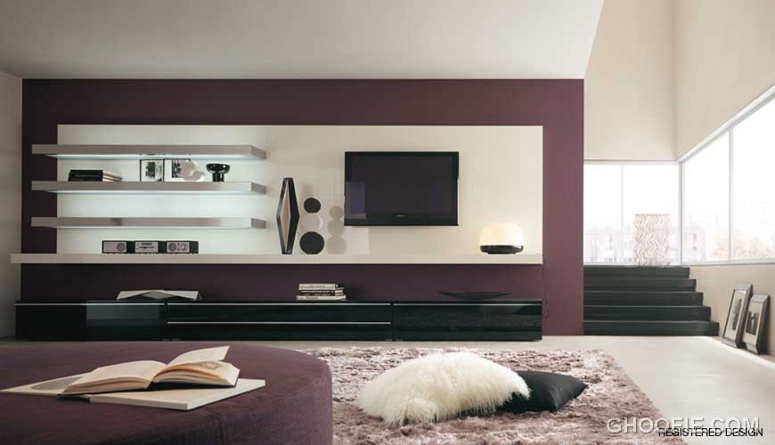 Mauve Wall Living Room Interior Design