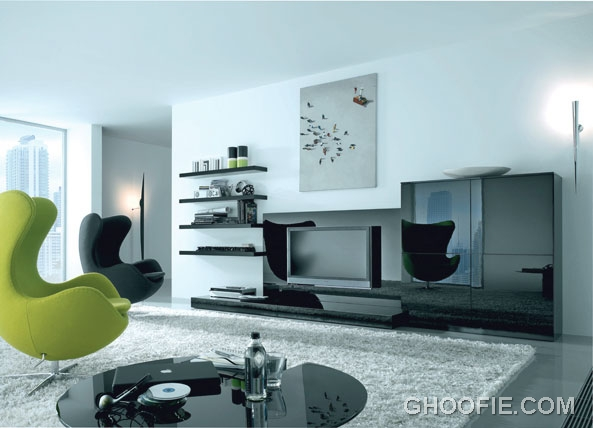 Modern living room with green black sofas interior for Black and green living room