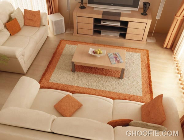 Orange 3D Living Room Design