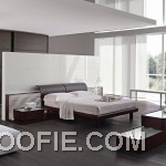 White Clean Bedroom with Mahogany Furniture