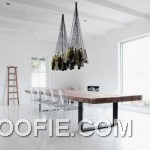 White Dining Room Design with Rustic Dining Table