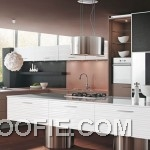 Amazing Brown Kitchen with White Kitchen Island
