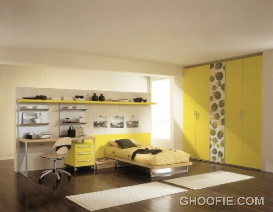 Bright Teen Bedroom with Yellow Furniture Design