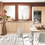 Brown Wall Kitchen with White Floor Design
