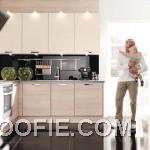 Brown White Kitchen with Black Floor Design