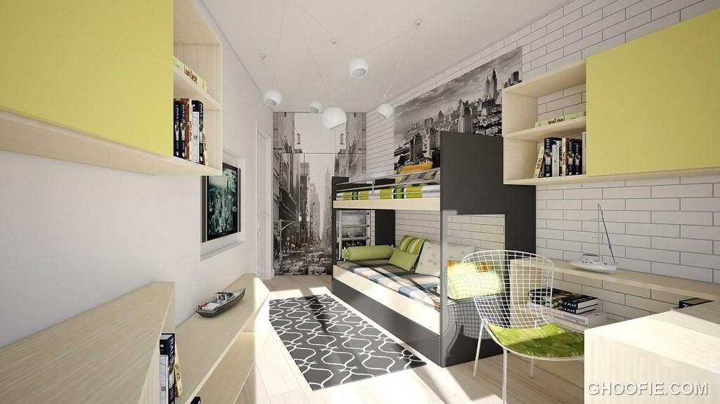 Gray Green Teen Bedroom Design Rendering
