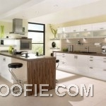Great Kitchen with White Brown Furniture Design