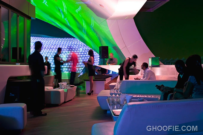 Amazing illuminated lighting allure nightclub. The Allure supperclub in Dubai with luxury bars.