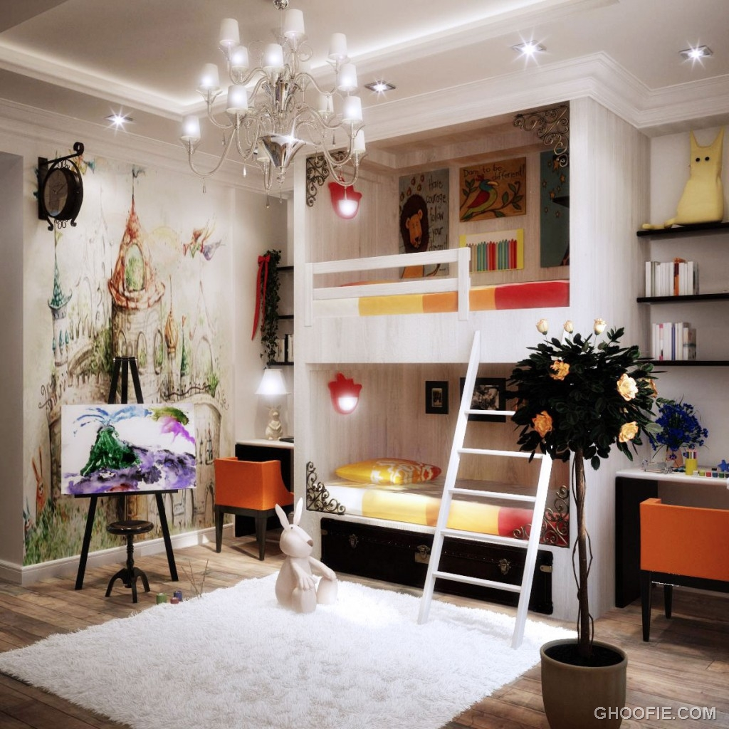 Luxury Kids Bedroom with Chandelier and Wall Decor