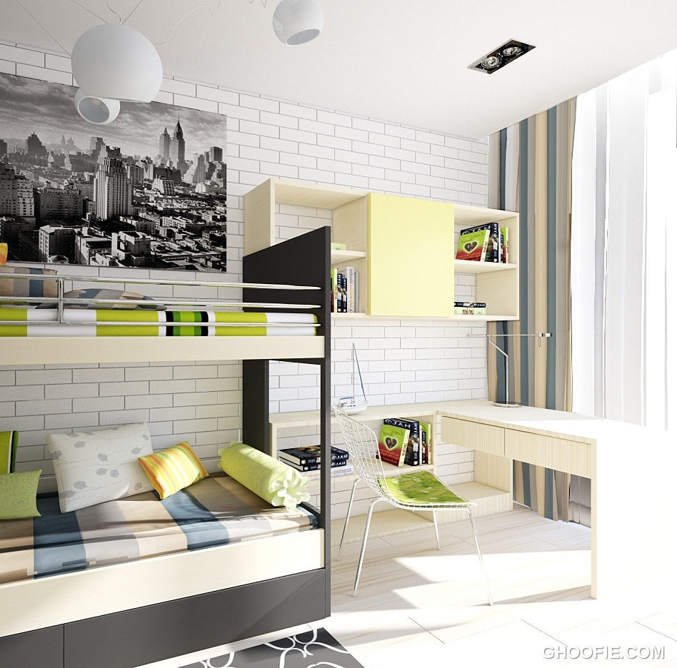 Modern Kids Bedroom Decorating Ideas Tray Ceiling Bedroom Paint Colors Chalk Paint Bedroom Ideas Lavender Bedroom Accessories: Modern Fresh Teen Room With Bunk Beds