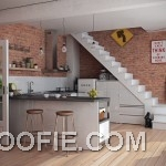 Modern Kitchen with Brick Wall Decor