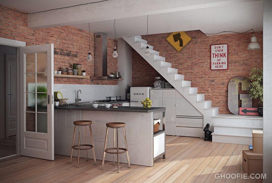 Modern Kitchen with Brick Wall Decor - Interior Design Ideas