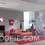 Modern Minimalist Teen Bedroom Design with Ceiling Light