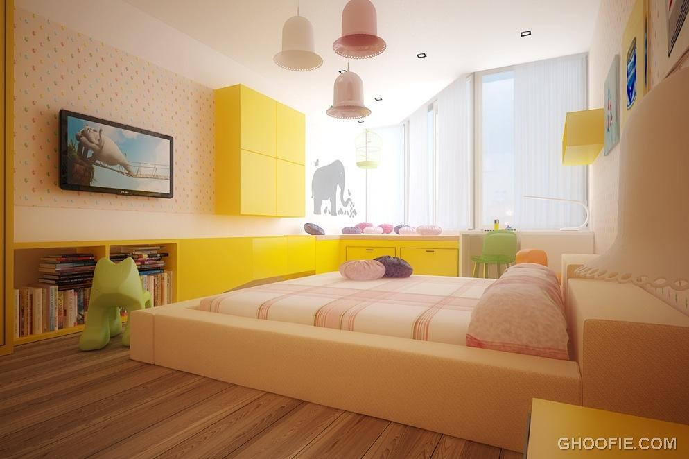 Modern Shining Kids Bedroom Rendering Design