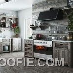 Modern Wooden Kitchen with American Flag Decor