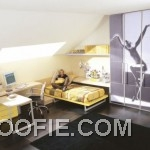 Teen Bedroom with Sloping Ceiling and Natural Lighting