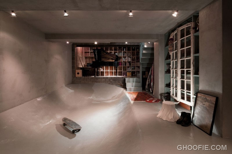 Unique Interior Home Design with Skatepark and Piano Rooms