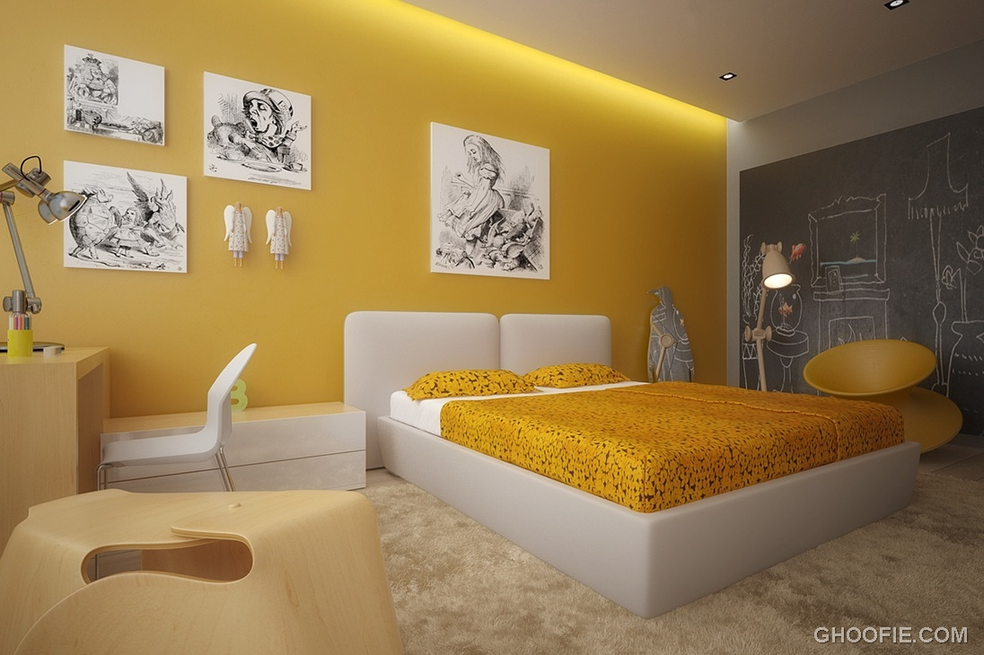 Yellow White Kids Room with Ceiling Light