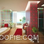 Amazing Bathroom Decor with Plaid and Graphic Print Walls