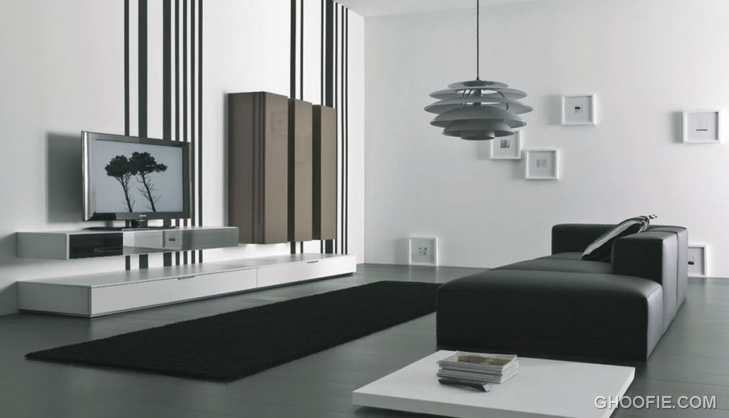 Black white Living Room with TV Wall Mount