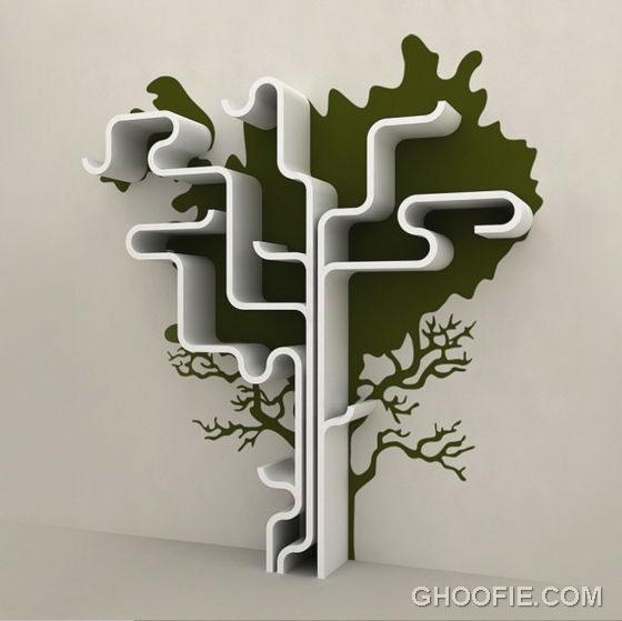 Creative Tree Shelves Shape Design