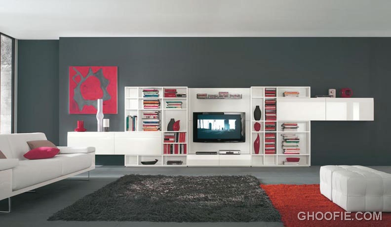 Modern Living Room with white TV Wall Mount Furniture