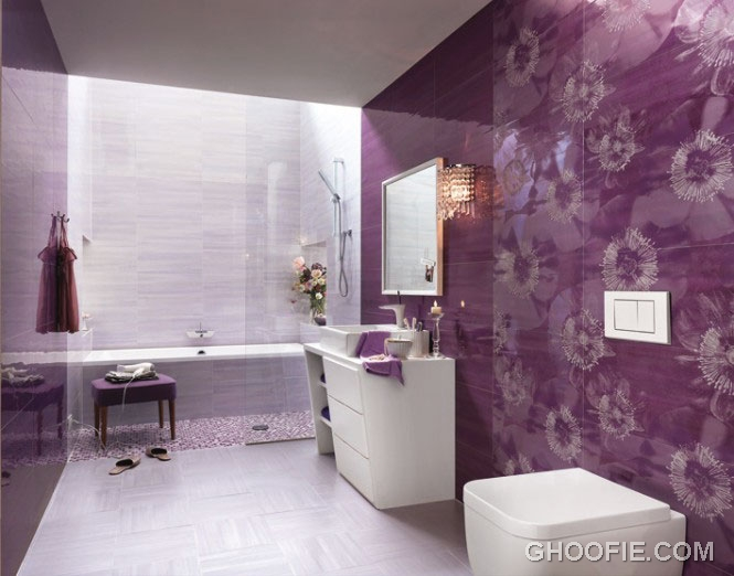 Purple Flower Wall Decal Bathroom